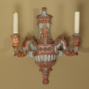 Pair French Two Light Carved and Painted Wood Sconces