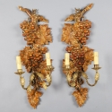 Pair of French Two Light Wood Sconces with Grapes and Vines