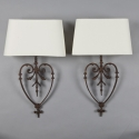 Pair of 2 French Heart Shaped Iron Sconces