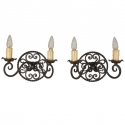 Pair Round Back Iron Sconces