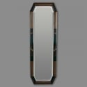 Tall Narrow Blue Framed Chinoiserie Mirror