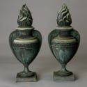 Pair of Tall Bronze Flame Urns