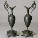 Pair Tall Art Nouveau Spelter Ewers with Nymph Handles