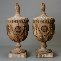 Pair of Monumental Carved Wood Capitals