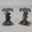 Pair 19th Century Bronze Tazzas with Putti and Ivy