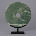 Chinese Green Jade Disk on Stand