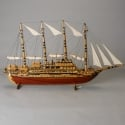 Circa 1900s Tall Wood Model Ship