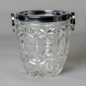 French Art Deco Heavy Cut Crystal and Silver Plate Ice Bucket