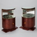 Pair Art Deco Mirrored Side Cabinet Tables