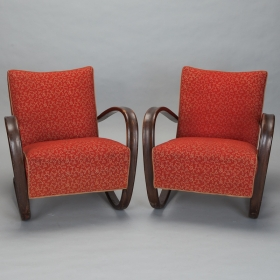 Pair of Czech Mid Century Jindrich Halabala Chairs With Original Fabric