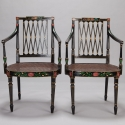 Set of 6 Swedish Ebonised and Painted Caned Arm Chairs