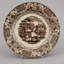 19th Century Brown and White Transfer Ware Plate