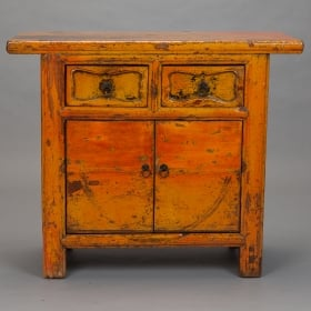 Chinese Lacquered Yellow Orange Side Cabinet