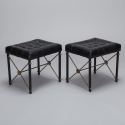 Pair Neo Classical Metal and Brass X Base Black Leather Stools