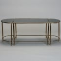Set of Three Accent Tables in Black Glass and Brass