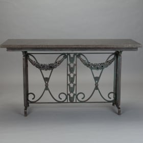 Art Deco Granite and Cast Iron Console