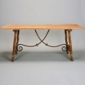 19th Century Spanish Bleached Oak Table With Iron Stretchers