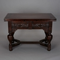 English Oak Draw Leaf Table With Ebony Inlay