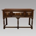 English Dark Walnut Three Drawer Console with Turned Legs