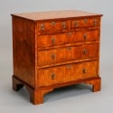 Pair English Oyster Veneered Front Side Chests