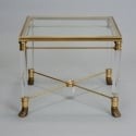 Mid Century Italian Glass Brass and Lucite Side Table
