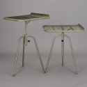 Pair Industrial Green Metal Adjustable Side Tables