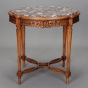 Dutch Carved Wood and Marble Side Table