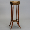 French Wood and Marble Plant Stand with Brass Fittings