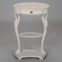 White Painted French Oval Top Small Side Table