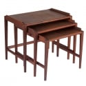 Set of 3  Mid Century Solid Walnut Nesting Tables