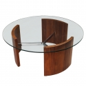 Vladimir Kagan Walnut and Chrome Radius Cocktail Table