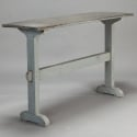Blue Gray Trestle Table With Zinc Top