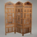 19th Century Three Panel Anglo Indian Carved Folding Screen