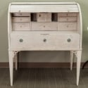 French Bleached and Waxed Roll Top Desk