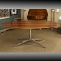 Mid Century Florence Knoll Brazilian Rosewood and Chrome Oval Table