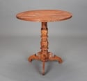 Swedish Tilt-Top Table With Original Red Paint