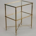 Glass and Brass Neo Classical Side Table with X Base Stretcher