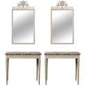 Pair 19th Century Directoire Marble Top Consoles with Matching Mirrors