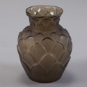 Signed Taupe D'Avesn Glass Artichoke Vase