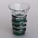Cut to Color Green Glass Bohemian Vase