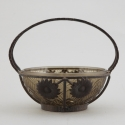 Signed Lorrain Daum Bowl with Fer Forge Sunflower Surround