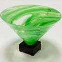 Mid Century Green Venetian Glass Vase on Base