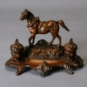 Bronze colored Sculpted Horse Inkwell