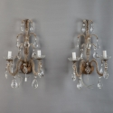 Italian Beaded Two Light Crystal Sconces