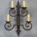 Tall Four Light French Iron Sconces