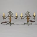 Pair Two Light Green and Gilt Metal Candelabra Style Lamps
