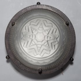 Art Deco Round Fer Forge and Frosted Glass Flush Mount Light Fixture