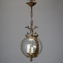 Pair 19th Century Etched Glass and Gilt Brass Round Lanterns