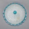 Mid Century White and Turquoise Murano Flush Mount Fixture