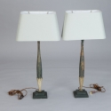 Pair Tall Slender Lamps Made with Antique Wood Fragments